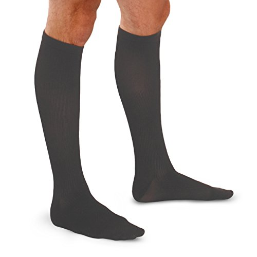 Therafirm Calcetines para hombre – 20 – 30 mmHg moderada compresión calcetines de vestir (carbón, mediano)