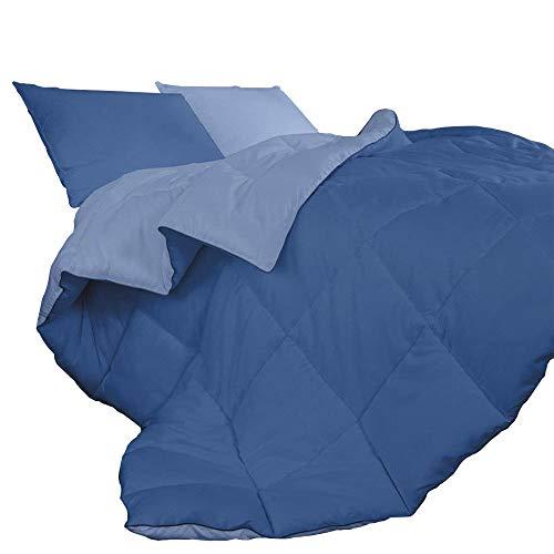 IlGruppone Piumino Invernale Caldo piumone 3 Misure Double Face Microfibra Anallergico - Blu/Azzurro - 1 Piazza