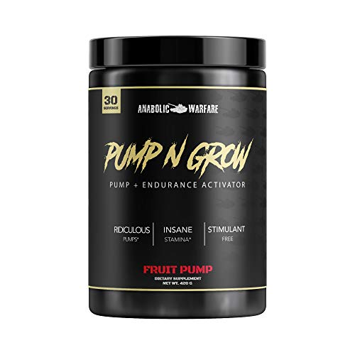 Pump-N-Grow Muscle Pump and Nitric Oxide Boosting Supplement by Anabolic Warfare * - Caffeine Free Pre Workout with L-Citrulline, L-Arginine, Beta-Alanine (Fruit Pump – 30 Servings)