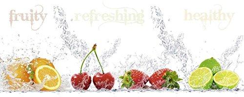 Glas - Bild Artland Wandbild Lebensmittel Getränke Obst Porzani & Kesu: fruity -refreshing - healthy Größe: 50 x 125 cm