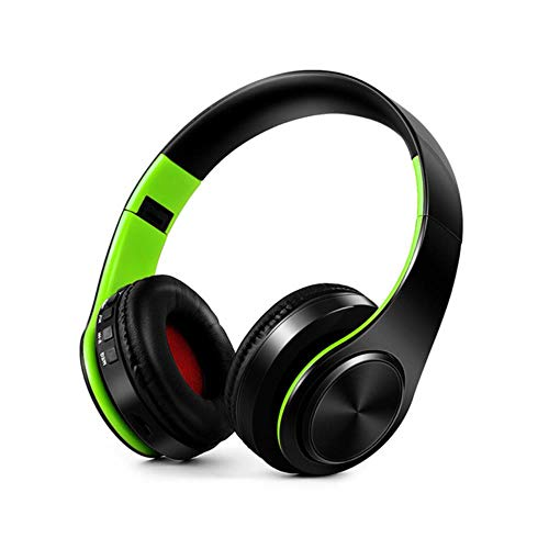 FXMINLHY Bluetooth koptelefoon over-ear draadloze koptelefoon opvouwbare stereo hoofdtelefoon met microfoonondersteuning TF-kaart FM voor PC-muziek MP3 zwart/groen
