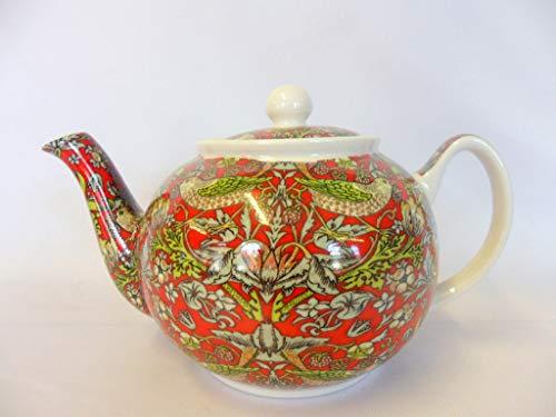 Heron Cross Pottery Teekanne für 2 Tassen von William Morris mit Erdbeer-Dieb, Rot