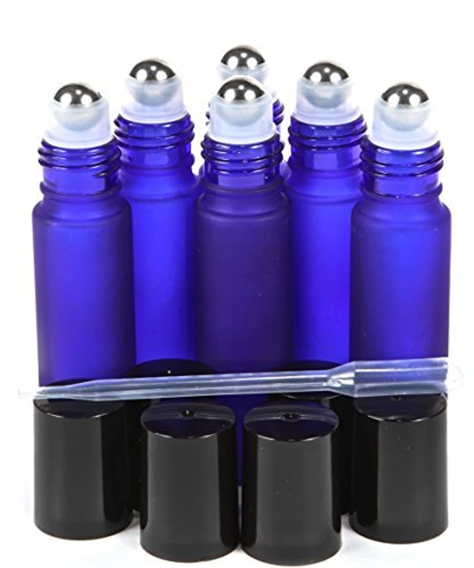 すみません枯れるインスタント6, Frosted, Cobalt Blue, 10 ml Glass Roll-on Bottles with Stainless Steel Roller Balls - .5 ml Dropper Included [並行輸入品]