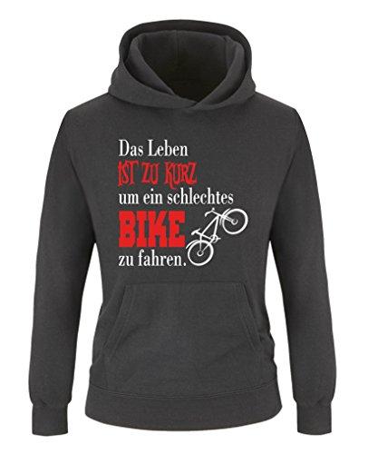 Comedy Shirts - Das Leben ist zu kurz um EIN schlechtes Bike zu Fahren - Jungen Hoodie - Schwarz/Weiss-Rot Gr. 134/146
