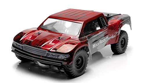 Exceed RC Trophy Truck Radio Car 1/16th Scale 2.4Ghz Max Rock 4WD Electric Remote Control 100% RTR Ready to Run w/ Waterproof Electronics (Red)