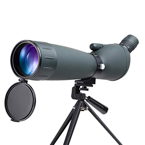 YVELINES Newest 25-75x75 Spotting Scope with Tripod, Carrying Bag Smartphone Adapter Waterproof Metal Base BAK4 Angled Scope Optics Zoom 52-94ft/1000m for Bird Watching Wildlife Scenery Outdoor