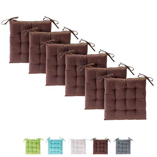 etérea Basic Sitzkissen, Stuhlkissen mit Bändern - für Innen- und Außenbereich geeignet, Sitzpolster Auflage für Haus und Garten - 6er Set - 40x40 cm, Braun