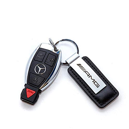 black leather red Mercedes Benz Key ring traffic red AMG stainless steel silver-coloured