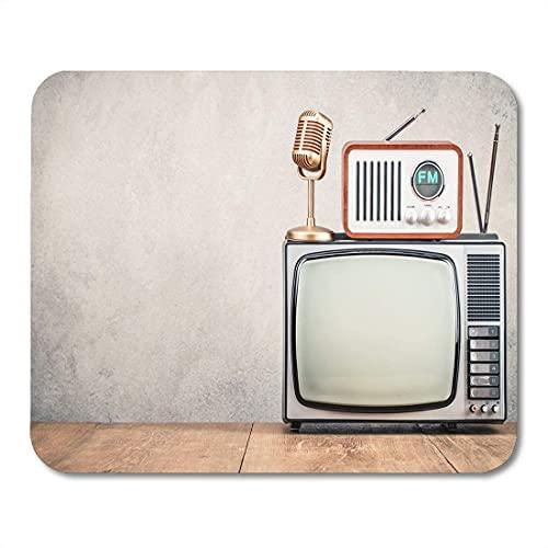 Alfombrillas para ratón Televisión Retro Old TV Receptor de Radio FM y Alfombrilla de ratón Dorada para portátiles, Alfombrillas para Ordenadores de sobremesa Material de Oficina