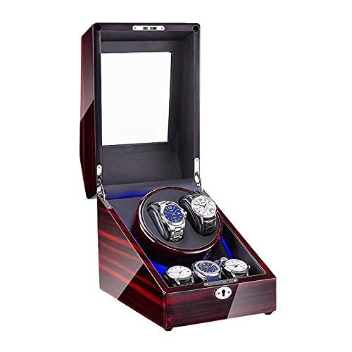 WBJLG Scatola Porta Orologi Automatica Display in Vetro Trasparente Top 4 modalità di Rotazione Finitura Piano Motore Super Silenzioso