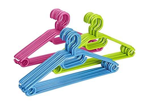 WENKO Percha Tipo Easy - juego de 10, percha para la ropa, Polipropileno, 40.5 x 21 x 0.7 cm, Surtido