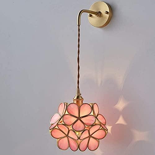 Waqihreu Lámpara de Pared de pétalos creativos nórdicos, Pantalla de vitrales, lámpara de Pared con Fondo de latón Retro, lámpara de Noche cálida y romántica, lámpara de decoración de Interiores