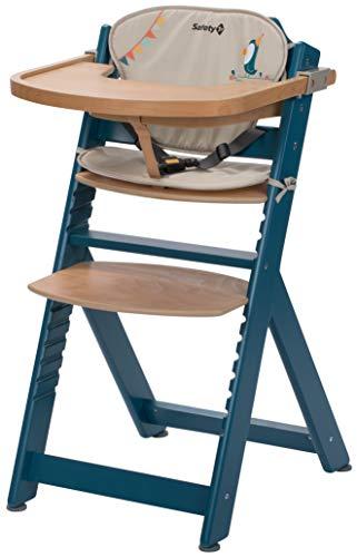 Safety 1st Chaise Haute pour bébé en Bois et Evolutive Timba avec coussin Petrol Blue