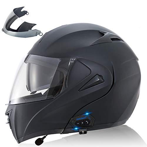 Cascos Modular Integrado con Doble Anti Niebla Visera, Casco de Moto mit Bluetooth Casco de Motocicleta ECE Homologado a Prueba de Viento para Adultos Hombres Mujeres 55-62CM