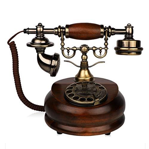 DH telefono fijo vintage Teléfono Antiguo Goma Madera Maciza Imitación Cobre Retro Dial Giratorio Antiguo Teléfono para El Hogar Y La Oficina, Es El Botón De Rellamada Tono Electrónico/Mecánico