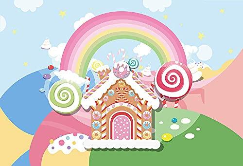 lovedomi 7x5ft Cartoon Candy House Rainbow Candy Party Lollipop Fondo fotografía Fondo Cabina Estudio fotográfico Vacaciones Familiares Fiesta cumpleaños fotográfico Fotografía Material Vinilo