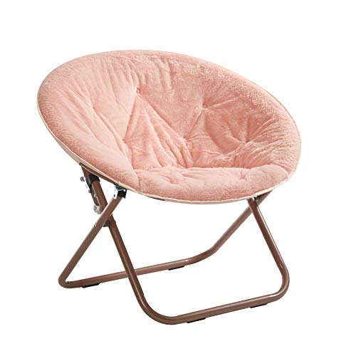 Urban Shop Faux Fur Saucer Chair with Metal Frame, One Size, Blush