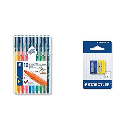 Staedtler Triplus Color 323 SB10. Rotuladores de de punta fina multicolor. Estuche con 10 marcadores + 510 50 BK2 - Afilalápices de plástico. Pack con 2 sacapuntas