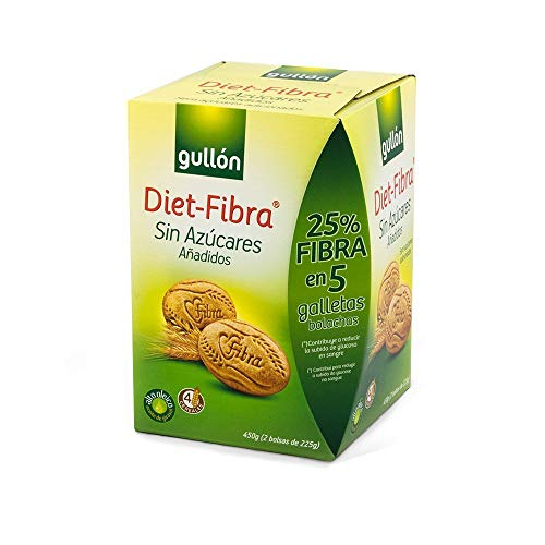 Gullón - Galleta fibra sin azúcar Diet-fibra 2 bolsas, 450g