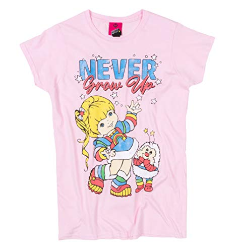 Ladies Never Grow Up Rainbow Brite Light Pink Fitted T Shirt