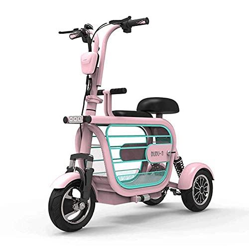 EWYI 3 Ruedas Scooter Eléctrico De Movilidad, Ligero Plegable Triciclo Eléctrico con Asiento para Niños Y Cesta De Almacenamiento, Silla De Ruedas Eléctrica para Adultos Pink-15A/65km