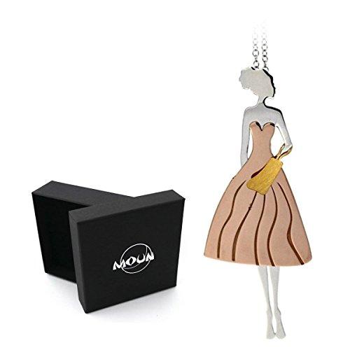 Collana con pendente Mini Dolly Fashion Blogger in abito fashion e borsetta, in argento 925 rodiato e placcato oro rosa. Originale MOUN.