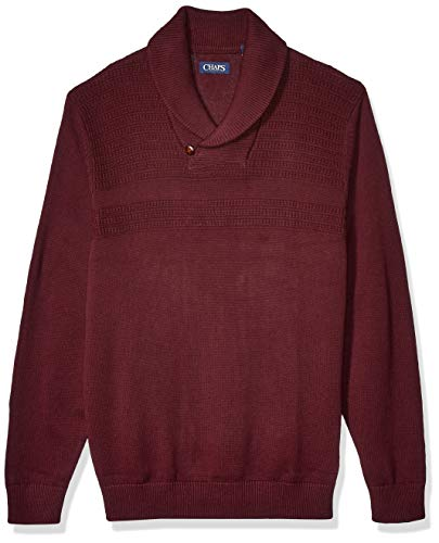 Chaps Men's Soft Cotton Shawl Pullover Sweater, Rich Ruby, XL