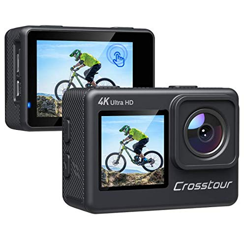 Crosstour Action Camera, 4K Underwater EIS WiFi Dual Screens Remote Control 24MP Ultra HD Touch Screen Camera with LDC 4X Zoom Two Rechargeable Batteries and Upgraded Accessories Kits CT9300