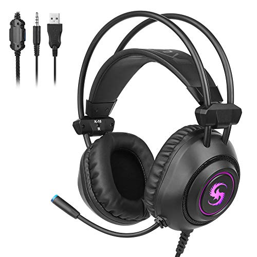 DNACC PS4 Cuffie da Gioco LED Bass Stereo Surround Cuffia da Gaming con Cancellazione del Rumore Microfono & Controllo del Volume Auricolare Altoparlanti da 50mm USB+3.5mm Jack per Xbox One/PC/Mac