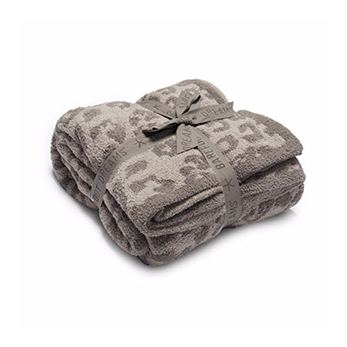 Barefoot Dreams CozyChic Barefoot in The Wild Gray One Size,Leopard/Linen/Warm Gray,CozyChic BITW Adult Throw . Leopard