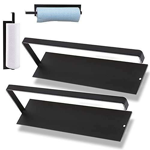 2 Stück Küchenrollenhalter ohne Bohren Küchenpapierhalter Wandmontage Papierrollenhalter Edelstahl Küchenrollenspender Küchenrollen Halterung Schwarz