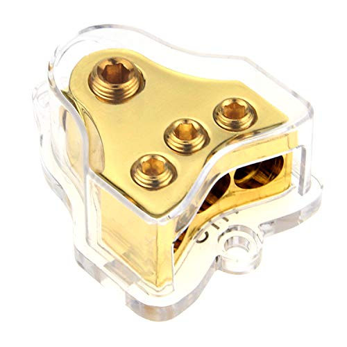 ZOOKOTO Copper 0/2/4 Gauge in 4/8/10 Gauge Out Amp Power Distribution Block for Car Audio Splitter (1 in 3 Out)