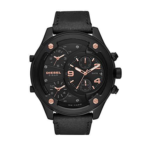 Diesel Men's Boltdown DZ7428 Black Leather Quartz Fashion Watch
