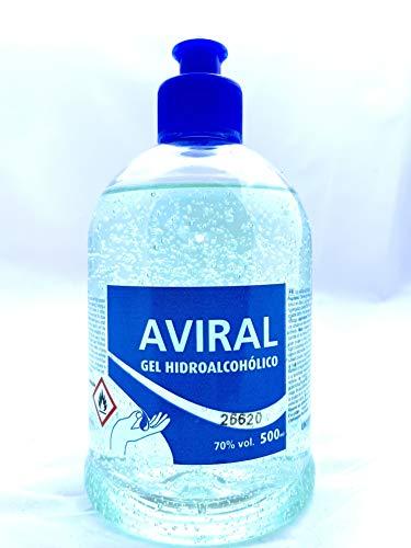 AVIRAL. Gel Hidroalcohólico Sanitizante. 70% Alcohol. En dosificador de 500ml. o garrafa de 5 Litros. (1 Dosificador de 500ml.)