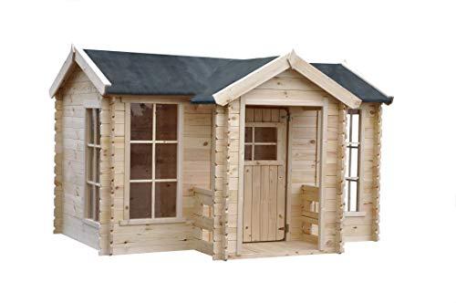 TIMBELA M520 Kleines Haus mit Terrasse - Massiv-Holz - Gartenhaus Tonnendach im Freien - Dicke 19 mm, H151 x 235 x 175 cm, 2.63 m²