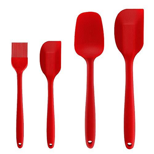 Binhai, Set di 4 spatole in Silicone antiaderenti in Gomma con Anima in Acciaio Inox, Resistenti al Calore, Set di Utensili da Cucina per Cucinare, cuocere e mescolare (Rosso)