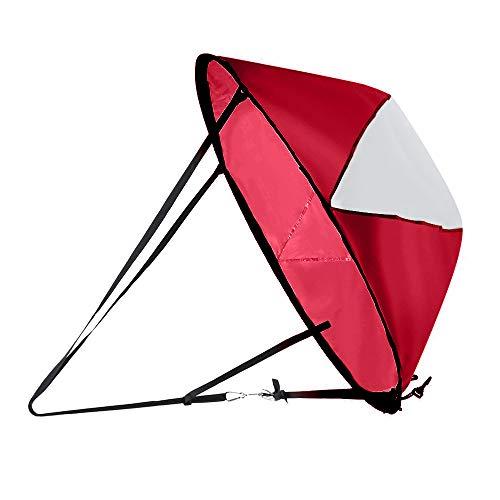 TreeLeaff - Velas de windsurf, 42 pulgadas, kit de vela de viento bajante, kayak, toldo, kayak, tabla de remar, fácil instalación y despliegue rápido, compacto y portátil, color rojo