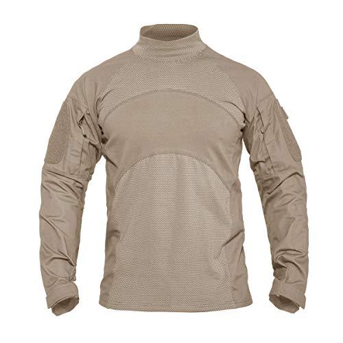 KEFITEVD Tactical Shirt Herren Langarm Sweatshirt Army T-Shirt mit Ärmeltaschen Klettflächen Taktisch Hemd Jagd Pullover Männer Outdoorshirt Khaki L