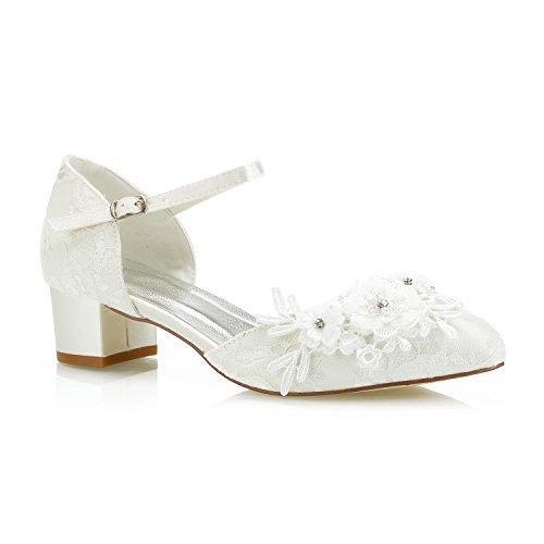 Mrs White 6655-1 Damen Hochzeitsschuhe 4cm Niedriger Keilabsatz Spitze Satin Diamant Abschlussball Brautschuhe, 42 EU