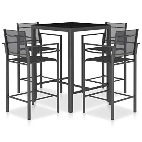 Goliraya Set da Bar da Giardino 5/9 pz in Alluminio e Textilene Antracite,Set Tavolo e Sedie da Bar Alti da Giardino in...