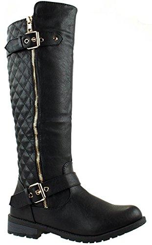 J.J.F Shoes Mango-21 Ginger-1 - Botas de equitación para mujer con cremallera lateral, Negro (Negro_b-32), 36 EU