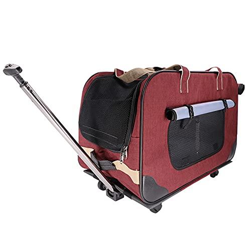 Funda para carrito de mascotas con cuatro ruedas tamaño bolsa de viaje con ruedas extraíbles, asa telescópica y ventanas de malla portátil para mascotas de hasta 20 kg (red)