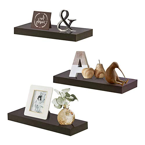 """ZGZD Floating Shelves for Wall, Easy to Install, Set of 3, 5.9"""" Deep (Espresso Brown)"""