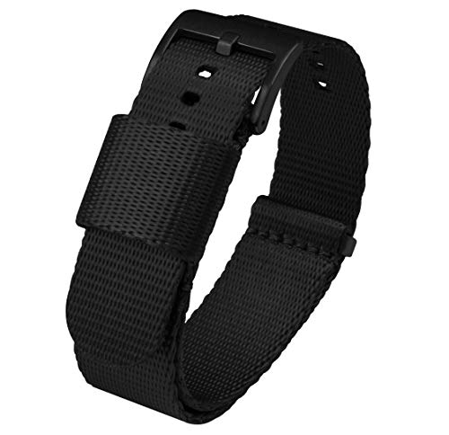 Barton Jetson - Correa de reloj estilo NATO – 18 mm, 20 mm, 22 mm o 24 mm – Correa de reloj de nailon para cinturón de seguridad 20mm negro