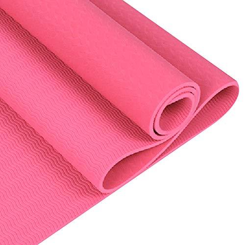 RIsxfh122 Color Sólido Gimnasio En Casa Fitness Ejercicio Entrenamiento Antideslizante TPE Yoga Mat Cojín Alfombra Toalla Manta Antideslizante Fitness Mat Rosado