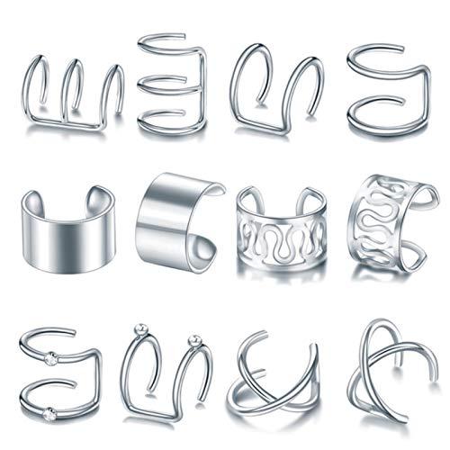 Bwer 12 Piezas Clip en Pendientes de puño de Oreja Pendientes de cartílago Falso Pendientes de Clip sin Perforaciones Conjunto de Pendientes para Mujer