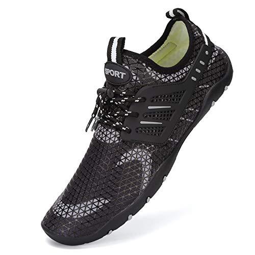 Zapatos de agua para hombre y mujer, de secado rápido, unisex, con 14 agujeros de drenaje para nadar, caminar, yoga, lago, playa, jardín, parque, conducir, navegar, color, talla 46 EU