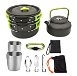 Three Tigers 1 Set Outdoor Pots Pans Camping Cookware Picnic Cooking Set Non-Stick Tableware with Foldable Spoon Fork Knife Kettle Cup