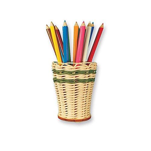 Zita's Creative Bastelset - Bleistiftbehälter Mini, Flechten, Korbflechten, Schilf Set, Peddigrohr, Flechtmaterial, Flechtset, Rattan