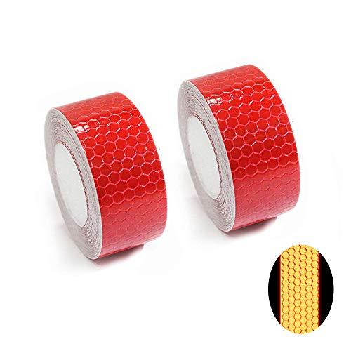Tuqiang® Reflektierende Band Selbstklebende Sicherheit Warnung Conspicuity Nacht Reflektor Streifen Tape Film Aufkleber 2.5cm×3m Rot 2 Stück